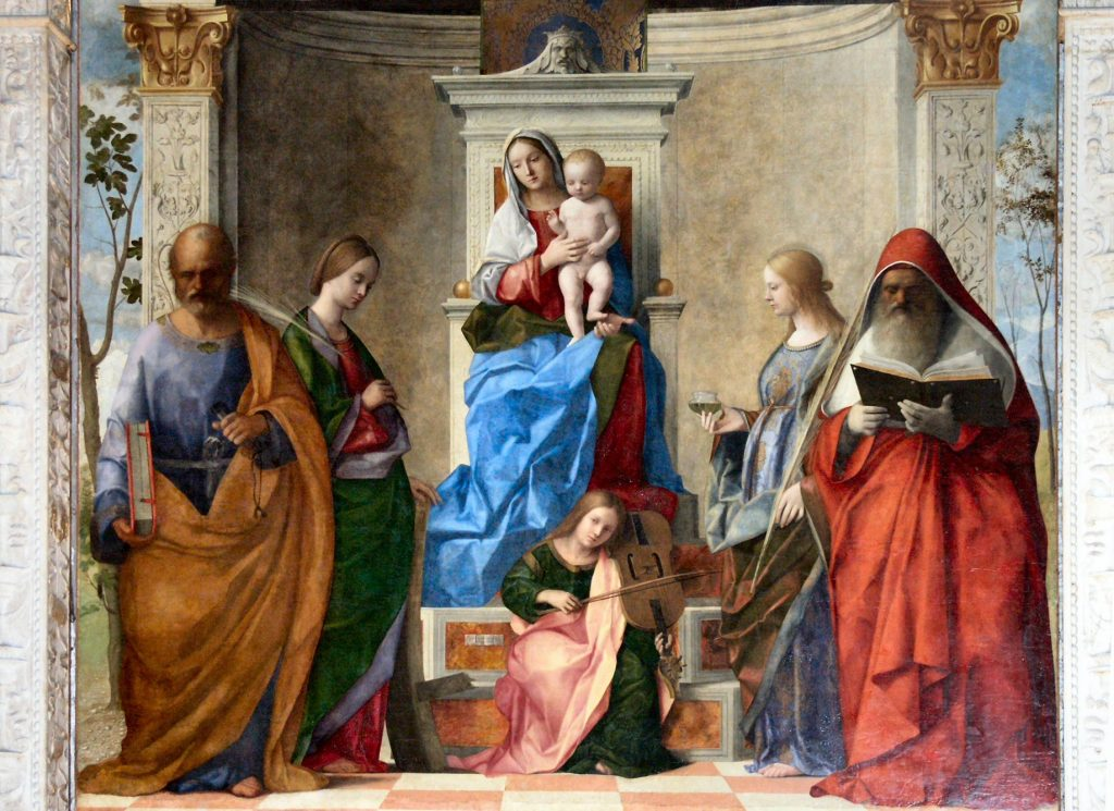 Giovanni Bellini,  San Zaccaria Altarpiece, 1505. The painting inspired Feast of the Rosary.