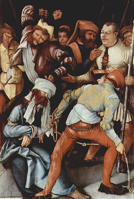 Matthias Grünewald, The Mocking of Christ, 1503 - 1505, a possible inspiration for Bacon's Three Studies for Figures at the Base of a Crucifixion