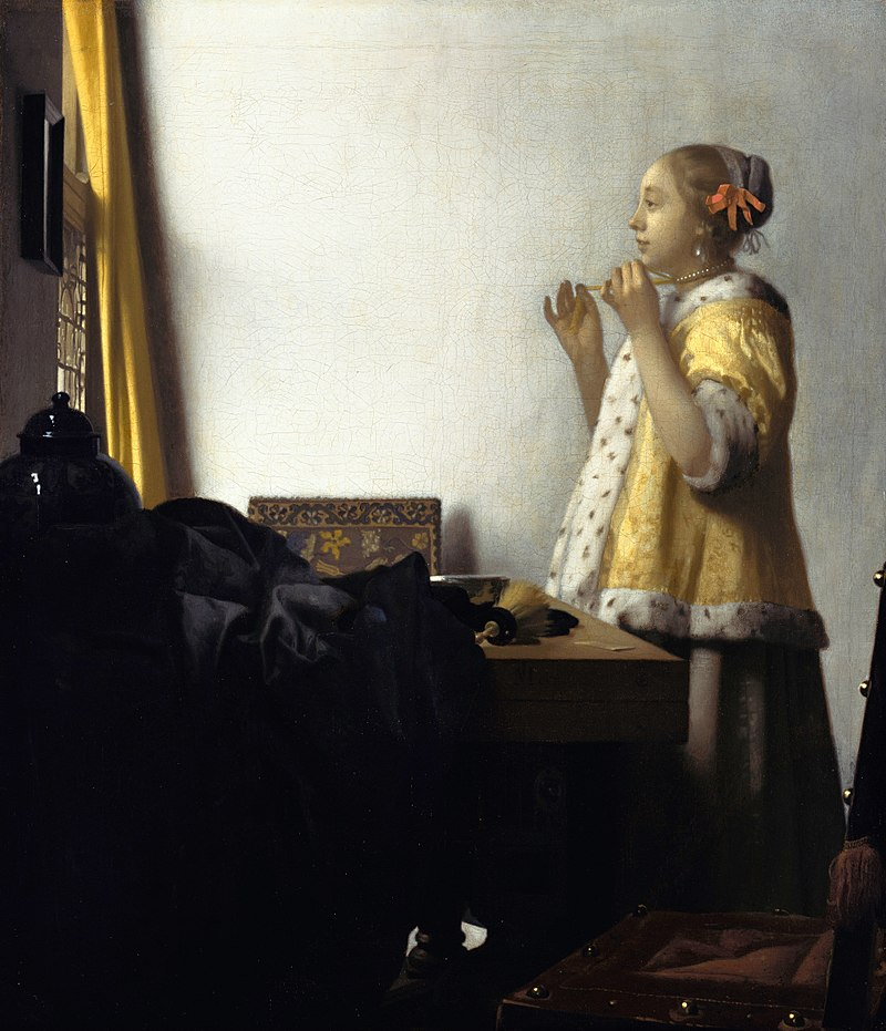 Johannes Vermeer, Woman with a Pearl Necklace, 1664. The portrait was made two years before Girl with a Pearl Earring.