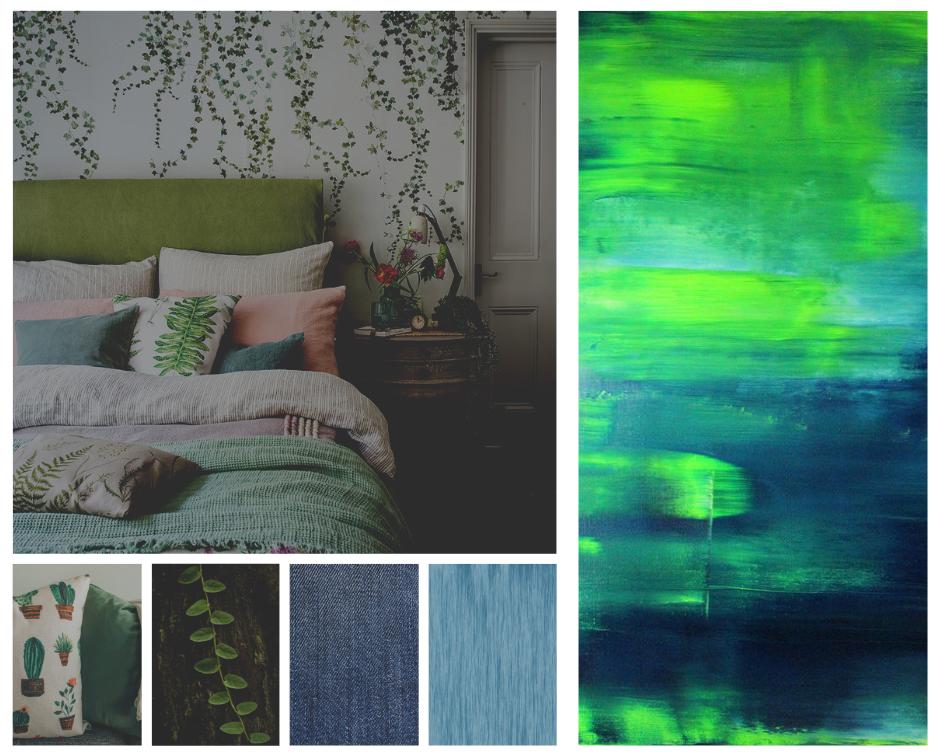 Zusammenstellung von einem Raumbild und verschiedenen Kunstwerken. Koen Lybaert, 'Changing Seasons - Summer 01 [Abstract N°2262]', 2018. Öl auf Leinwand, 130x120cm.