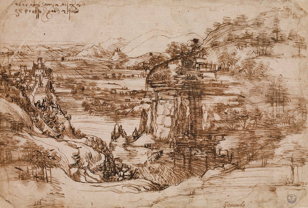 Landscape Drawing for Santa Maria Della Neve by Leonardo da Vinci made in 1473. The relationship between this early work an The Adoration of the Magi is clear.