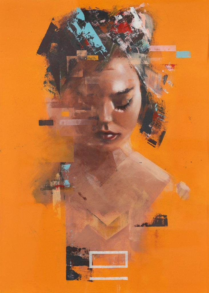 "Georg Pummer, ""No Surrender - Orange"", Acryl auf Papier, Karton unter Glas, 82x67cm, 2018"
