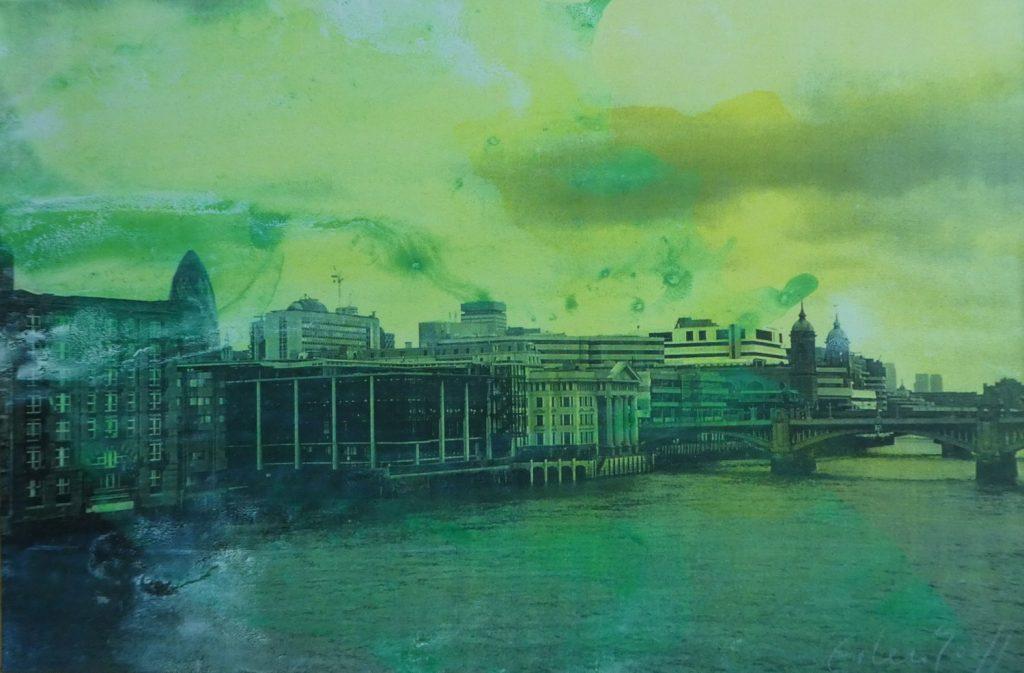 """Anke Erlenhoff, """"London"""", Acryl und Lack auf Leinen, 80x120cm, 2012"""