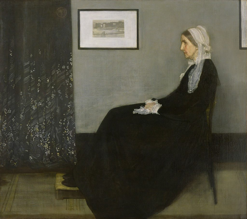 James Abbot McNeill Whistler, Arrangement in Grey and Black No.1, 1871). Popularly known as Whistler's Mother.