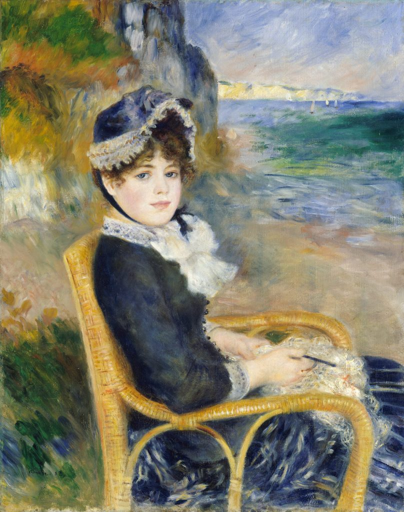 Pierre-Auguste Renoir, By the Seashore, 1883. A portrait of Aline Victorine Charigot made seven years before their marriage.