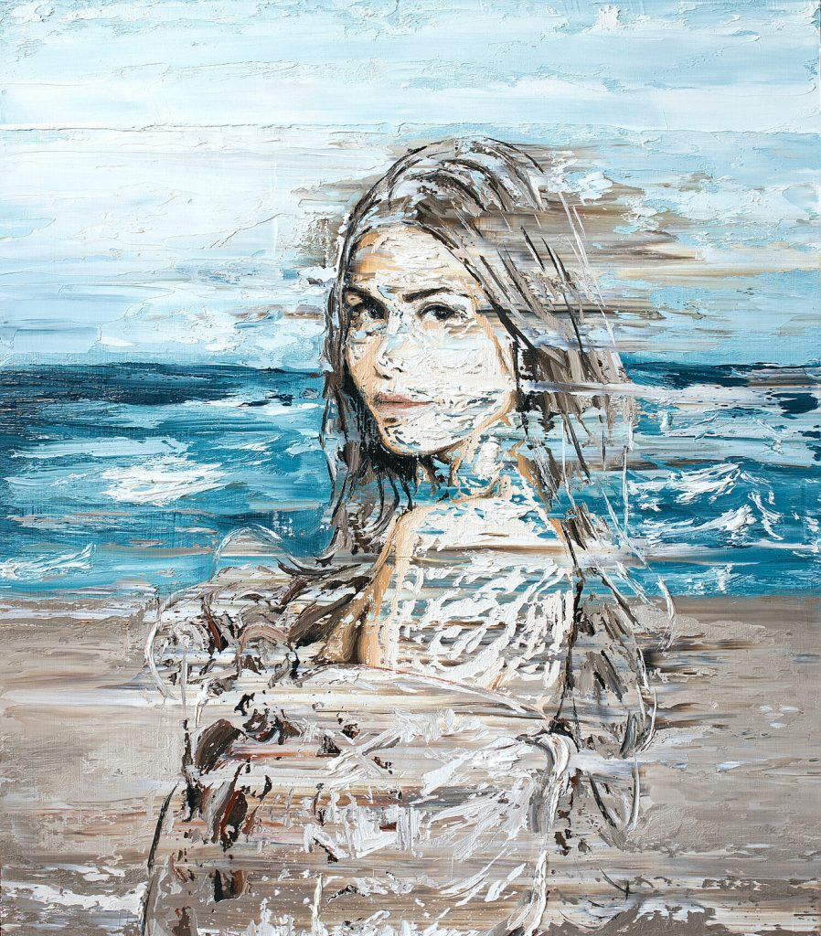 "Patrick Domo, ""Blanket"", Öl auf Holz, 80x70cm, 2019"