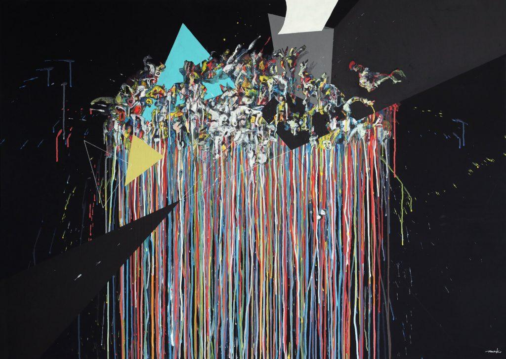 """Peer Kriesel, """"Umschichtung für Umsonst"""", Acryl auf Leinwand, 100x140 cm, 2017"""