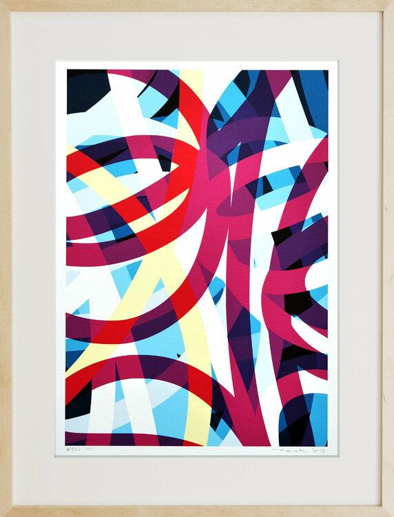 """Peer Kriesel, """"FRTZNABSTRCTN No. 227"""", auf Papier unter Glas, 50x40 cm, 2019"""