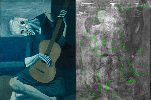 X-ray of Picasso's The Old Guitarist