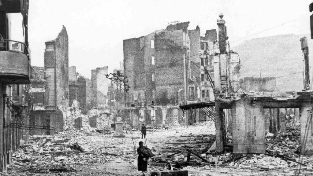 Ruins of Spanish Basque town Guernica after the 1937 bombing