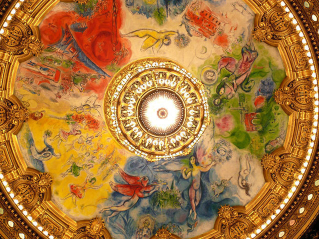 The ceiling of the Palais Garnier opera house in Paris, painted by Chagall
