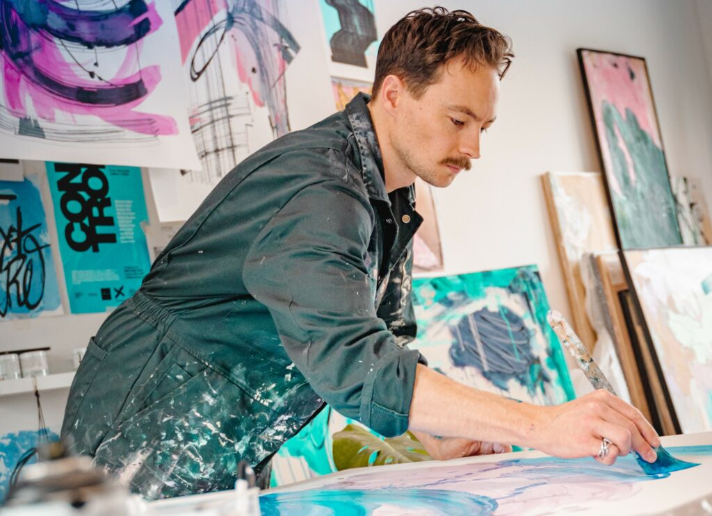 Artist Marcus Aitken in his studio in South London