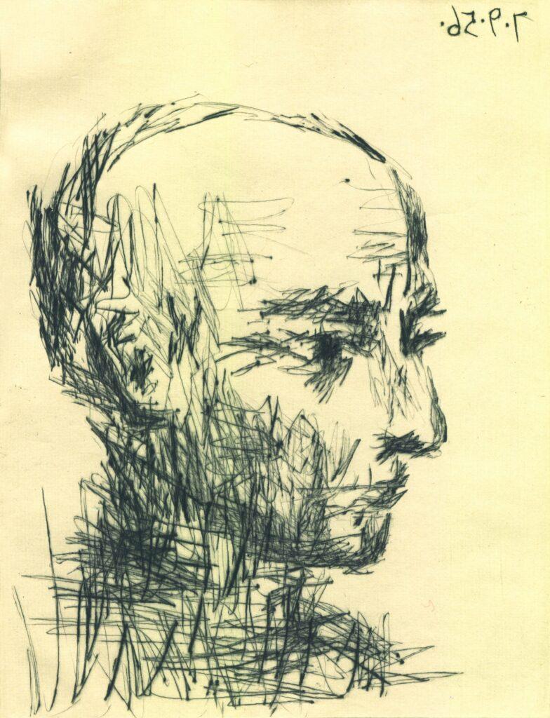 Pablo Picasso: Im Profil, 7. September 1956, Kaltnadelradierung