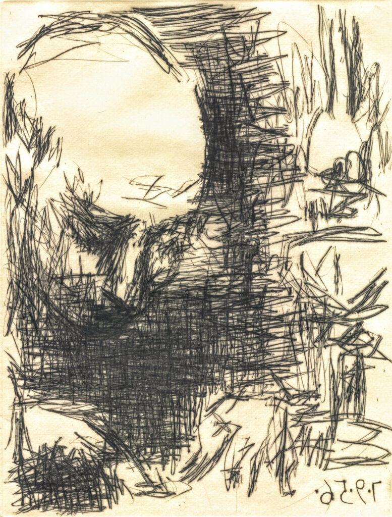 Pablo Picasso: Max Jacob schreibend, 7. September 1956, Kaltnadelradierung