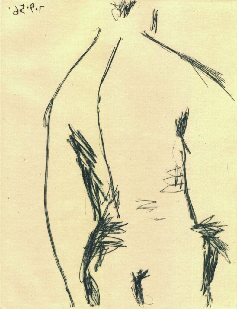 Pablo Picasso: In Rückenansicht, 7. September 1956, Kaltnadelradierung