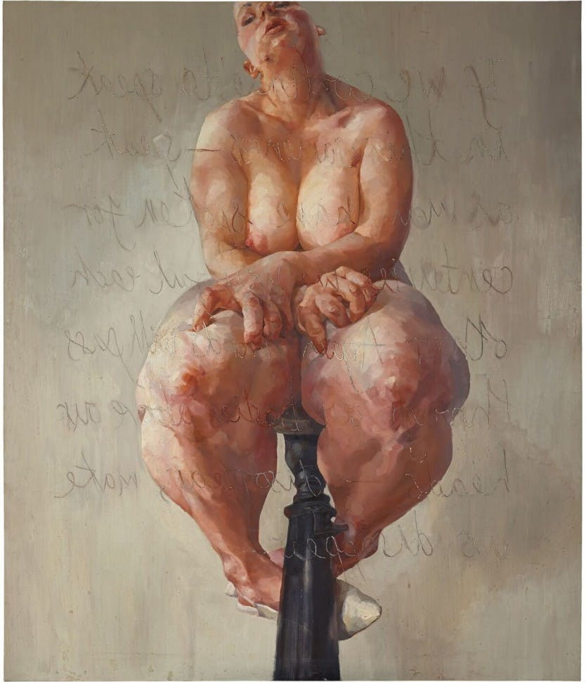This image has an empty alt attribute; its file name is Jenny-Saville-propped.jpg